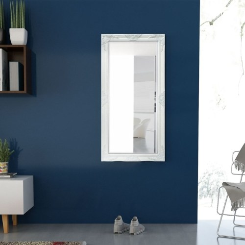 """Настенное зеркало в стиле барокко 47.2 """"x23.6"""" Белый"""