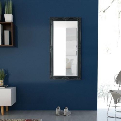 """Настенное зеркало в стиле барокко 47.2 """"x23.6"""" Черный"""