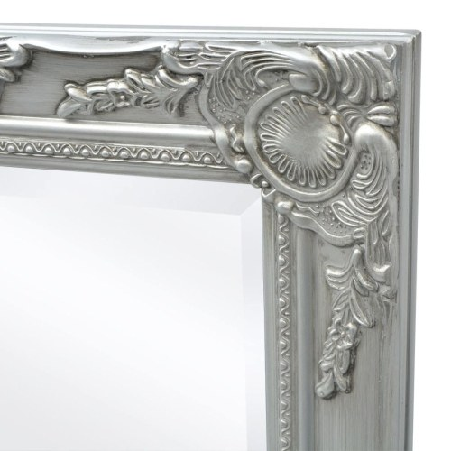 "Wall Mirror Baroque Style 55.1 ""x19.7"" Silver"