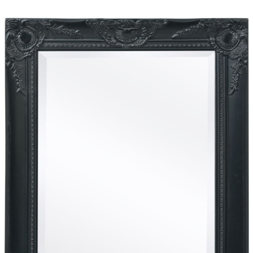 "Wall Mirror Baroque Style 55.1 ""x19.7"" Черный"