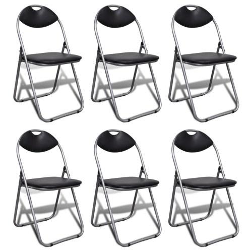 Складные стулья 6 шт. Искусственная кожа