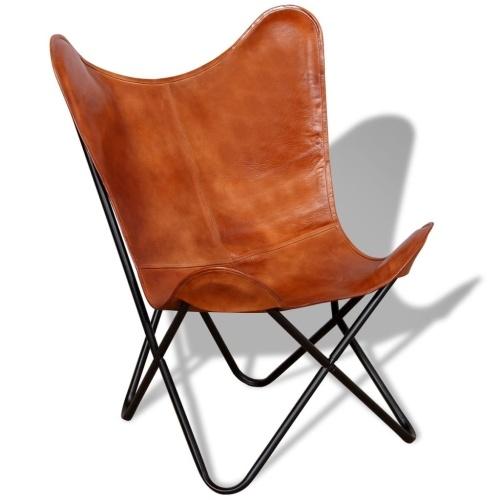 Butterfly Chair Echtes Leder Braun