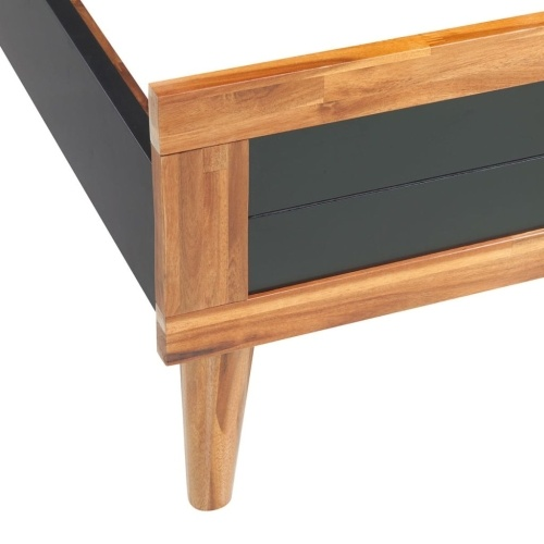 """Quadro de cama  Solid Acacia Wood 78.7 """"x70.9"""" Black"""