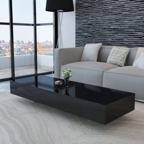 Festnight Coffee Table Side Table Sofa Table Couch Table for Living Room High Gloss Black