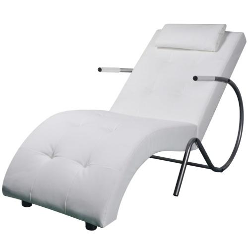 Sillón diván con almohada de cuero artificial blanco