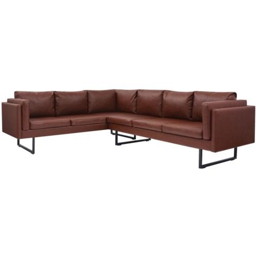 Коричневый кожаный угловой диван