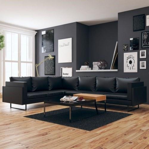 Sofá de canto em couro artificial preto