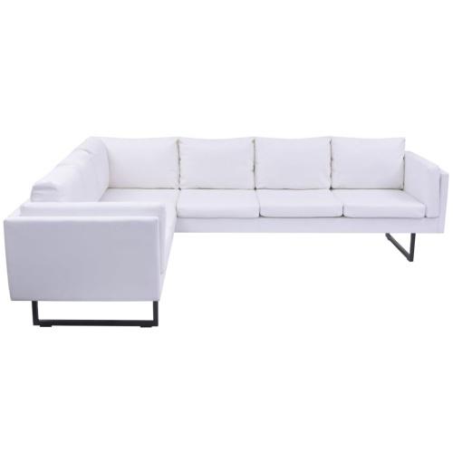 Sofá de esquina de cuero artificial blanco