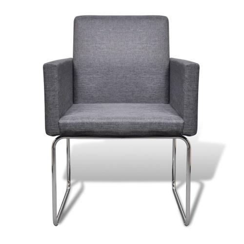 Dining Chairs 2 pcs Fabric Dark Gray
