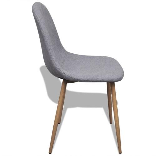 Cadeiras de Jantar 4 pcs Tecido Cinza Claro