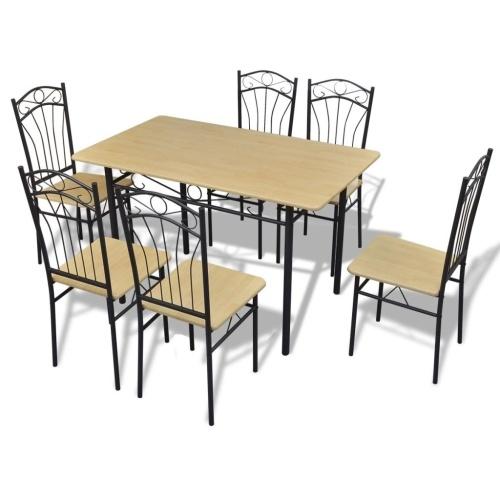 Seven Piece Esstisch und Stuhl Set Hellbraun