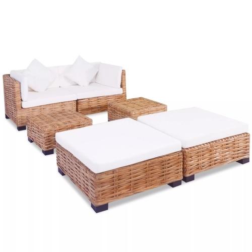 set of 16-piece natural rattan sofas