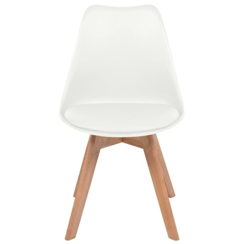 Dining chairs 4 units white artificial leather and wood