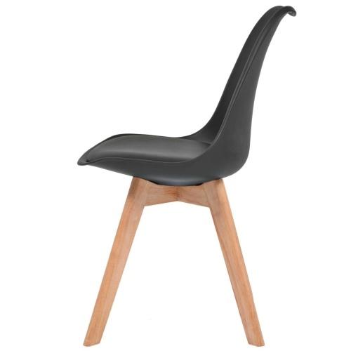 Esszimmerstühle 2 Einheiten Kunstleder und schwarzem Holz