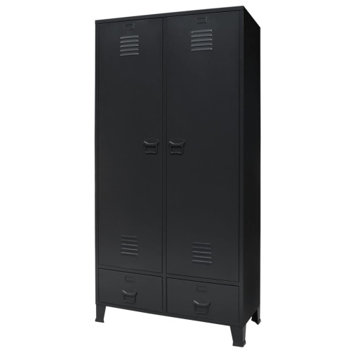 Festnight Wardrobe Metal Industrial Style, with 2 Doors and 2 Drawers, 3 Adjustable Shelves and 1 Hanger, Metal Storage Cabinet - Armoire Wardrobe 35.4