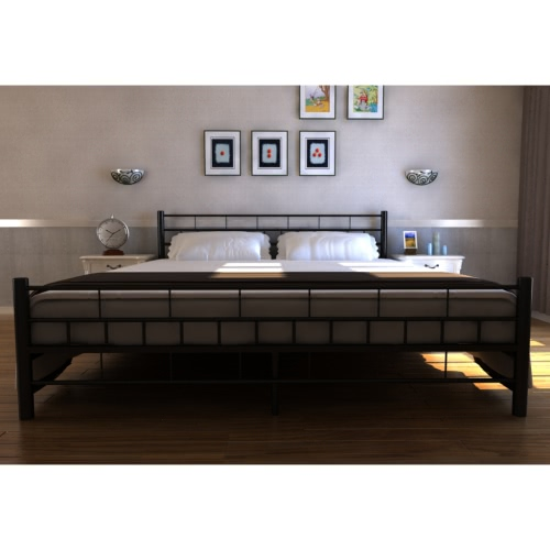Black Metal bed with mattress 180 x 200 cm