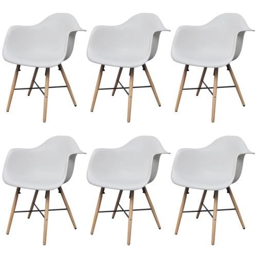 6 White Esszimmerstühle mit Armlehnen und Buchenholz Beine