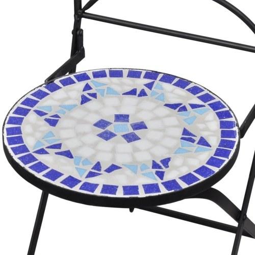 Набор из 3 бистро, керамическая плитка, синий и белый