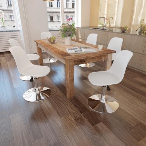 6 sedie girevoli tavolo bianco con altezza regolabile