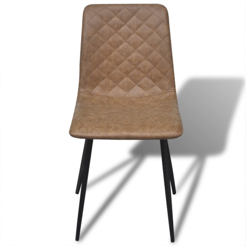 dining chairs 6 pcs. synthetic leather brown