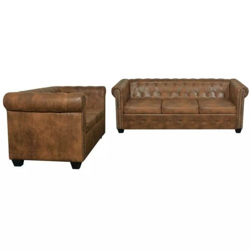 chesterfield sofa set 2 + 3 seater brown