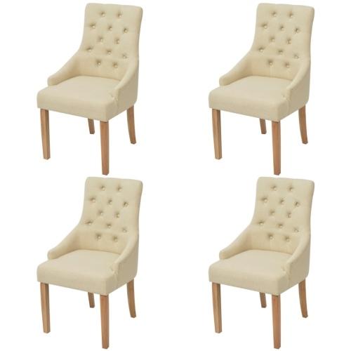 Esszimmerstühle aus Eiche 4 Stück cremefarbenen Stoff