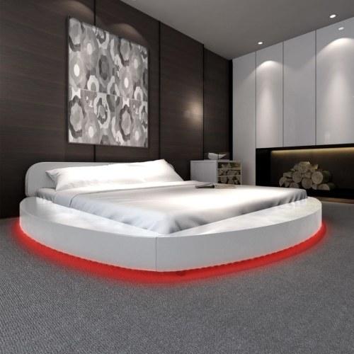 Кровать с матрасом и светодиодной 180x200 круглой белой искусственной кожей