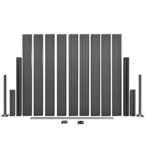Panneau de clôture de jardin 4 pièces WPC gris 715 cm
