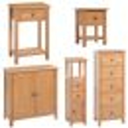 solid oak 5 piece living room furniture set