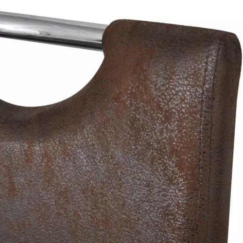 Консольные столовые стулья 4 шт. Искусственная кожа Коричневый