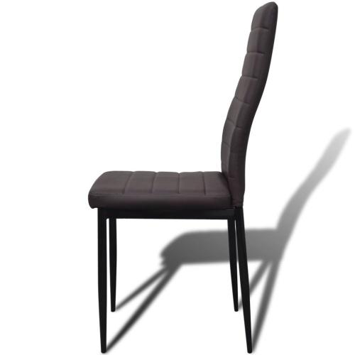Slim Line Обеденные стулья 6 шт. Искусственная кожа Коричневый