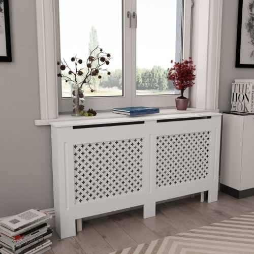 Festnight Radiator Cover, Patio Heater Covers MDF Additional Shelf Space for Living Room Furniture Decor White 59.8