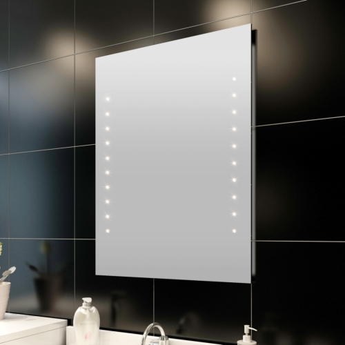Miroir pour salle de bain 50 x 60 cm (L x H) avec éclairage LED