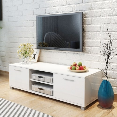 TOMTOP / TV cabinet White Glossy Lacquered 120x40,3x34,7 cm