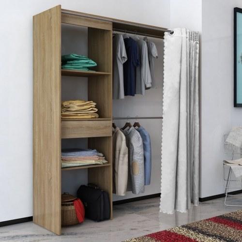 Kleiderschrank mit Vorhang Verstellbare Breite 121-168 cm Eiche
