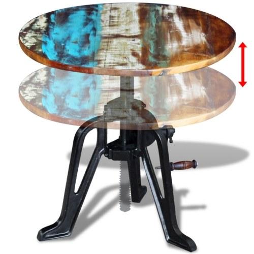 Журнальный столик в античной массивной древесине и чугуне 60x (42-63) см