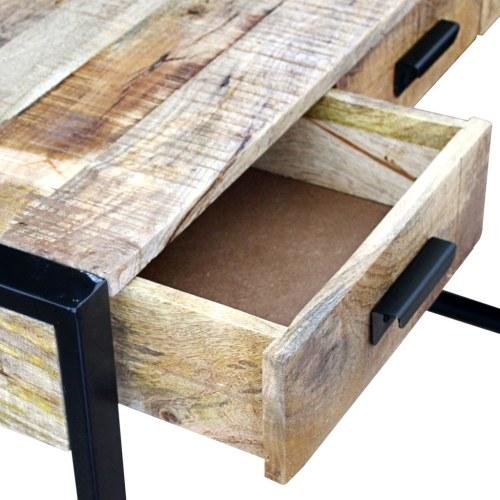 Журнальный столик с 3 ящиками Твердая древесина манго 110x35x78 см