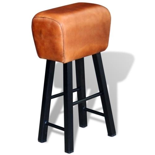 Барный стул в натуральной коричневой коже