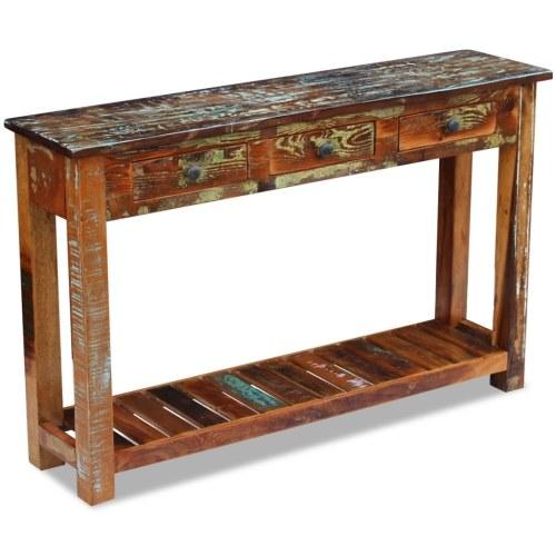 Konsolentisch aus wiedergewonnenem Massivholz 120x30x76 cm