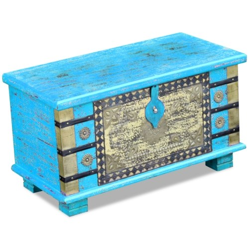 Синий деревянный сундук Манго 80x40x45 см