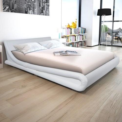 Кровать из белой синтетической кожи 160x200 см