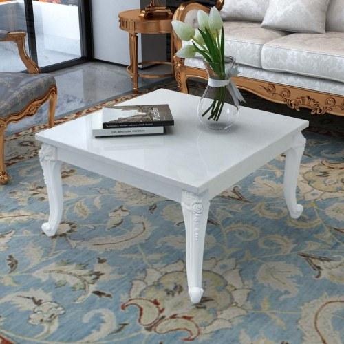 Журнальный столик 80x80x42 см Высокий глянцевый белый