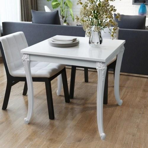 Обеденный стол 80x80x76 см. Высокий глянцевый белый