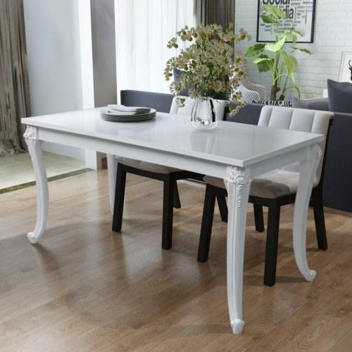 Обеденный стол 120x70x76 см Глянцевый белый
