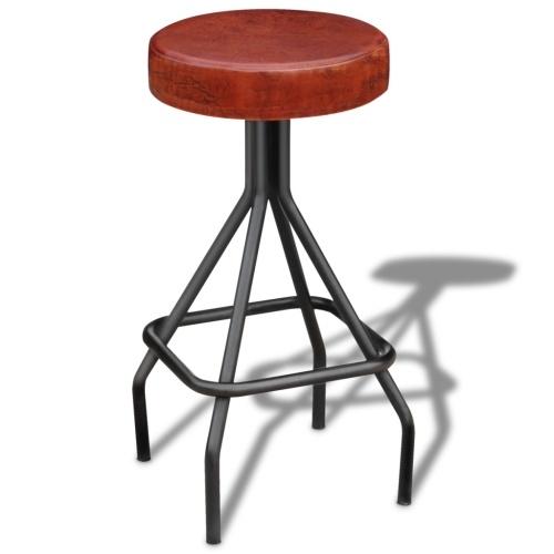 Барный стул в натуральной коричневой и черной коже