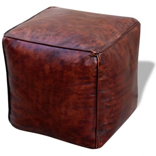 Квадратный кожаный пуф 45x45x45 см