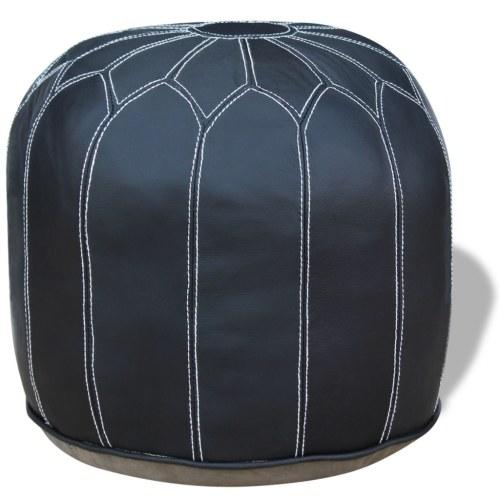 Серый кожаный круглый пуф 48x48x38 см