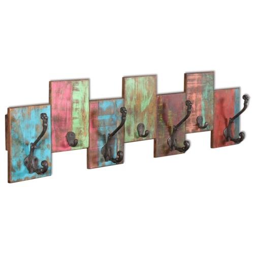 Gancho com 7 ganchos em madeira maciça recuperada