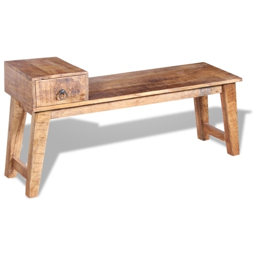 Bench with Solid Wood Mango Drawer 120x36x60 cm