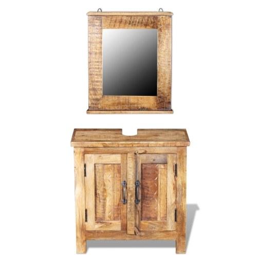 Шкаф ванной комнаты с зеркалом из массивного дерева Mango